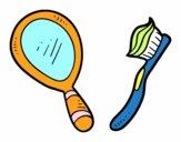 Specchio e spazzolino da denti