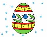 Uovo di Pasqua con tulipani