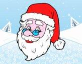 Disegno Muso di Babbo Natale pitturato su  fedenegli