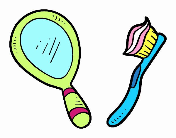 Disegno specchio e spazzolino da denti colorato da utente - Il bagno e la casa ...