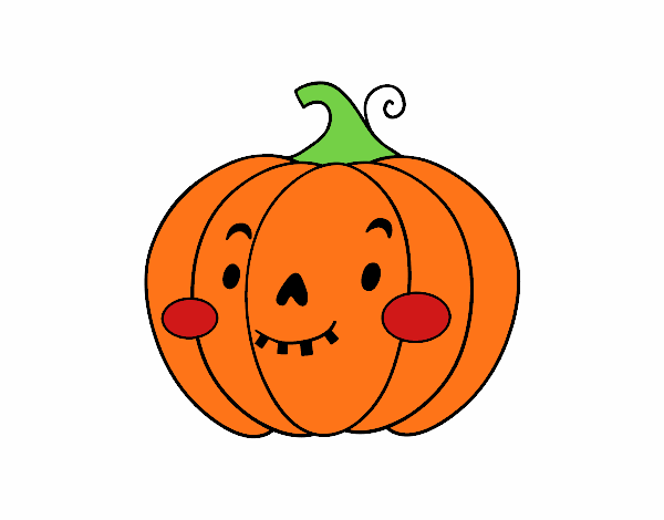 Disegno zucca di halloween simpatico colorato da utente for Zucca di halloween disegno