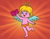 Disegno Cupido con lettera d'amore pitturato su Mathias
