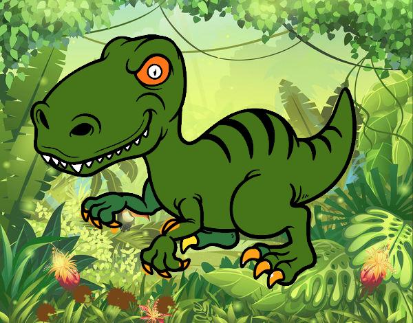 Disegno Dinosauro velociraptor pitturato su amirotto