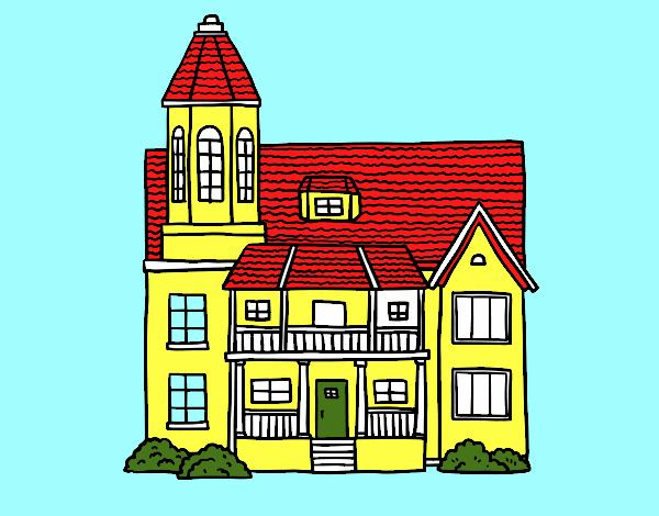 disegno casa a due piani con torre colorato da utente non