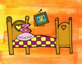 Disegno Camera da letto pitturato su cecilia