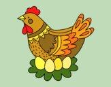 Gallina con le uova di Pasqua