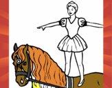 Trapezista in groppa al cavallo