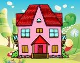 Disegno Casa con balconi pitturato su Janky