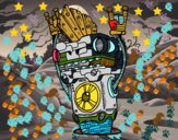 Disegno Robot Rock and roll pitturato su Janky