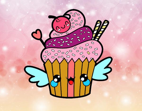 Disegno il cupcake kawaii colorato da utente non for Immagini disegni kawaii