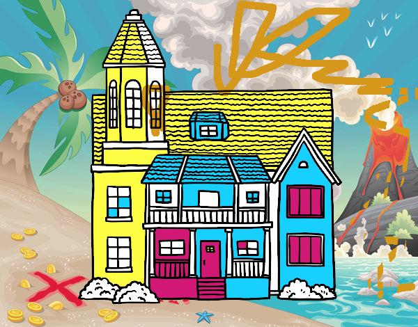 Disegno casa a due piani con torre colorato da utente non for Disegni di casa a due piani
