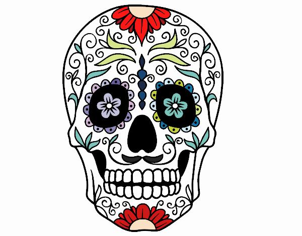 Disegno teschio messicano colorato da utente non for Disegni portico messicano