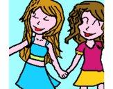 Le ragazze si stringono la mano