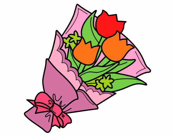 Mazzo Di Fiori Da Colorare: Disegno Mazzo Di Tulipani Colorato Da Utente Non