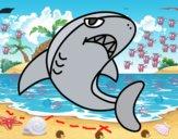 Disegno Squalo nuoto pitturato su GIOP