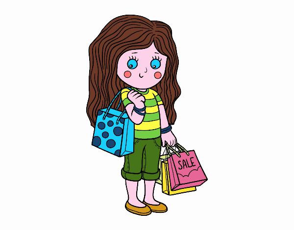 Niña con compras de verano