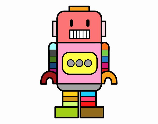 Disegno Robot alto pitturato su MattiaR