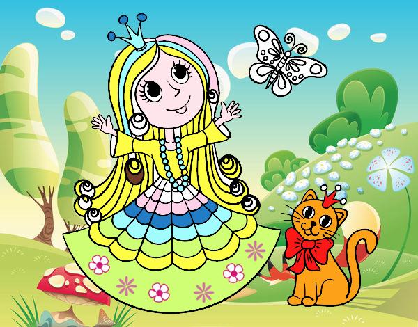 Principessa con il gatto e la farfalla