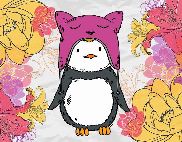 Pinguino con il cappello divertente