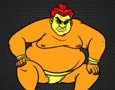 Lottatore sumo furioso