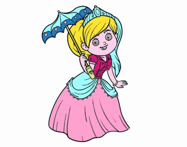 Disegno Principessa con parasole pitturato su Yurip
