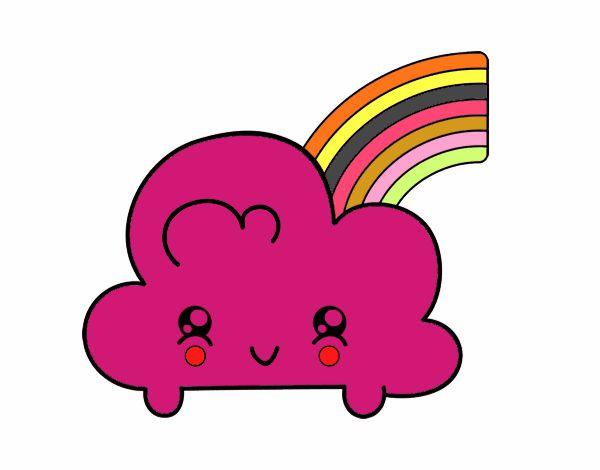 Cloud con arcobaleno Kawaii