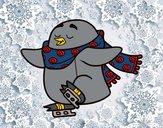 Pinguino pattinaggio su ghiaccio