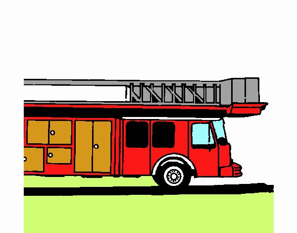 Disegno Camion dei pompieri con la scala pitturato su Drilli