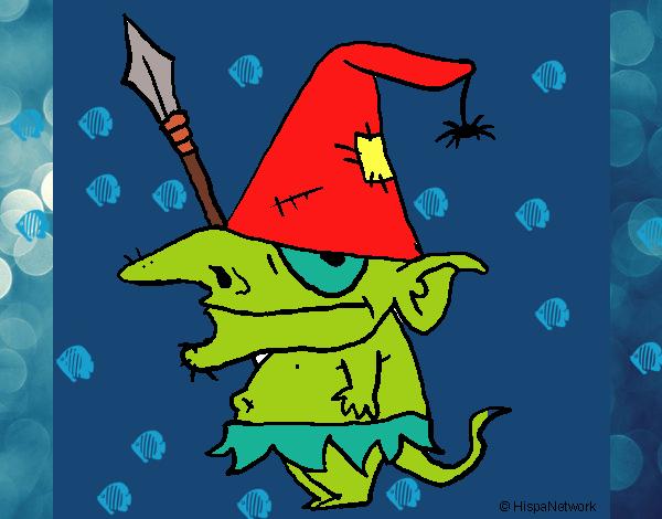 Disegno Gnomo con il cappello  pitturato su Drilli
