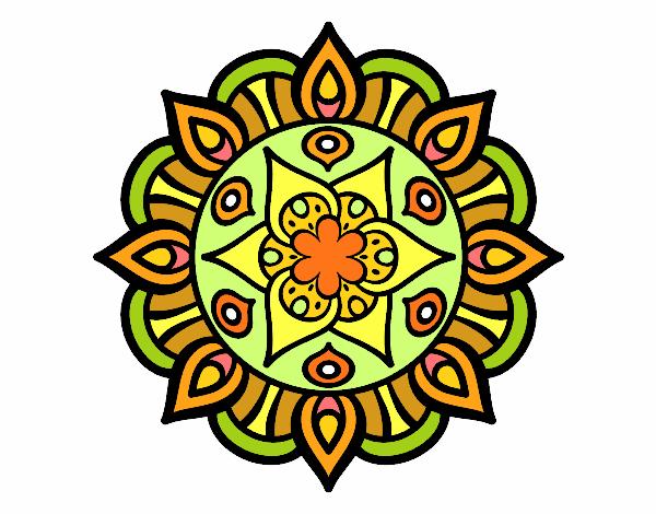 Disegno Mandala vita vegetale pitturato su trilly