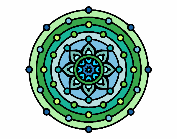 Disegno Mandala sistema solare pitturato su trilly