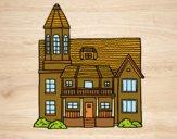 Casa a due piani con torre
