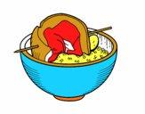 Spiedo della carne con riso
