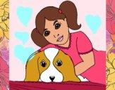Bambina che abbraccia il suo cagnolino