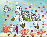 Tartaruga di mare con pesce