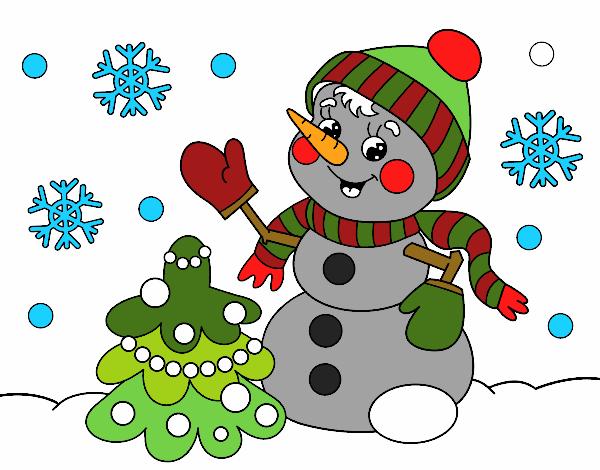 Disegno pupazzo di neve cartolina di natale colorato da - Scene di natale a colori ...