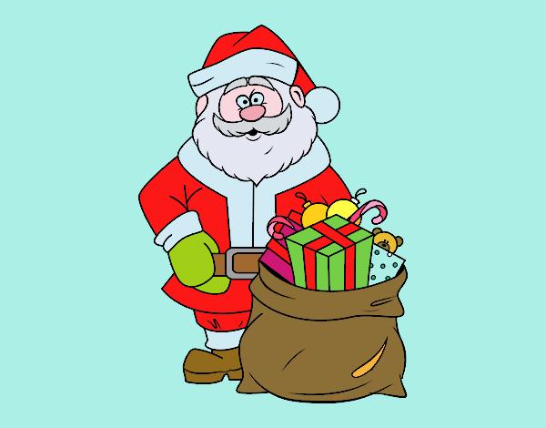 Immagini Babbo Natale Con Sacco.Disegno Babbo Natale Con Un Sacco Di Regali Colorato Da