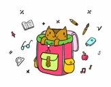 Disegno Gatto in uno zaino pitturato su mihaela