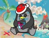 Un pinguino con un regalo di Natale