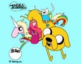 Jake, Finn, la principessa Bubblegum e Rainbow Lady