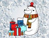 Orso con i regali di Natale