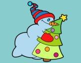 Pupazzo di nev abbracciare albero