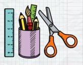 Disegno Il materiale scolastico pitturato su thebigvale
