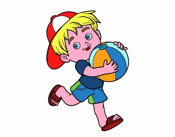 Disegno Bambino Che Gioca Con Pallone Da Spiaggia Colorato Da Utente