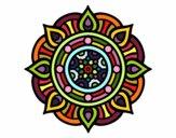 Disegno Mandala punti di fuoco pitturato su batizy