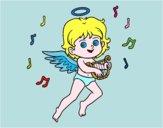 Cupido giocando arpa