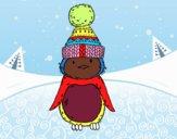 Pinguino con cappello di inverno