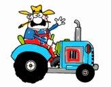 Contadino sul suo trattore