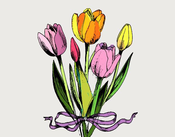 Disegno tulipani con un fiocco colorato da utente non for Disegni del mazzo del cortile anteriore