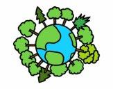Pianeta terra con gli alberi